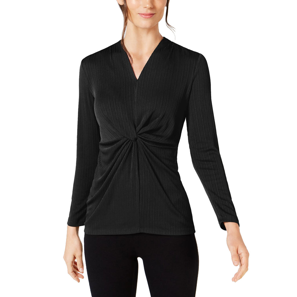 Alfani Black V-Neck Knot-Front Top Size Extra small Muse Boutique Outlet | Shop Designer Long Sleeve Tops on Sale | Up to 90% Off Designer Fashion