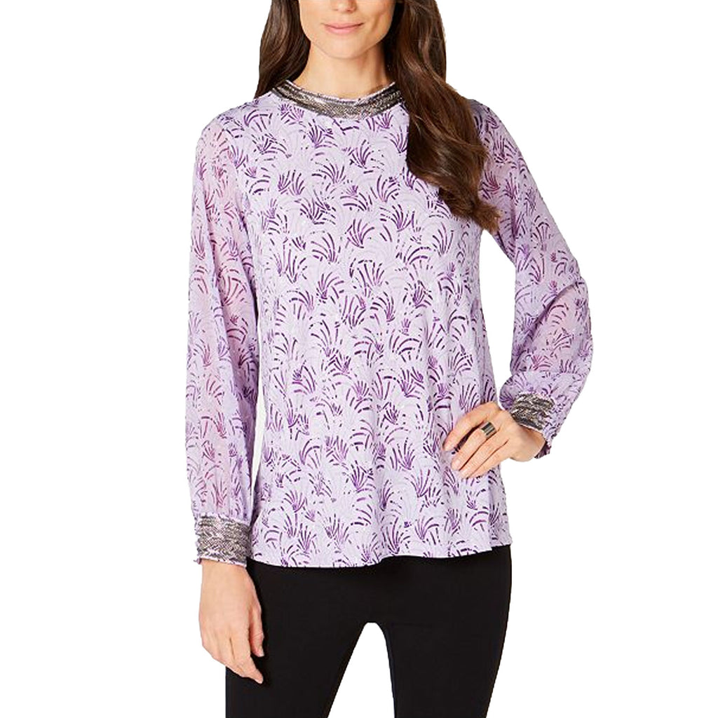 Alfani Purple Metallic Print Beaded Top Size Large Muse Boutique Outlet | Shop Designer Long Sleeve Tops on Sale | Up to 90% Off Designer Fashion