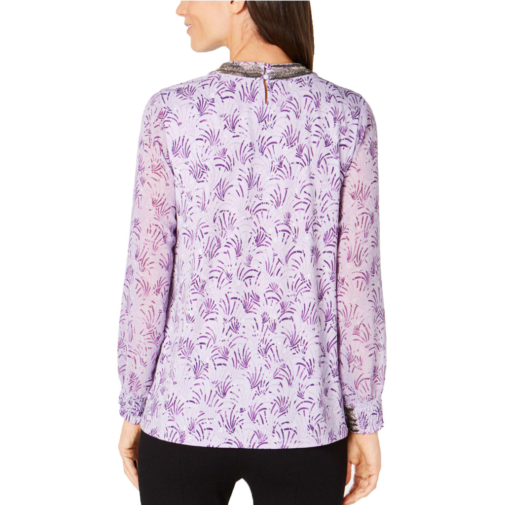 Alfani  Metallic Print Beaded Top Size  Muse Boutique Outlet | Shop Designer Long Sleeve Tops on Sale | Up to 90% Off Designer Fashion