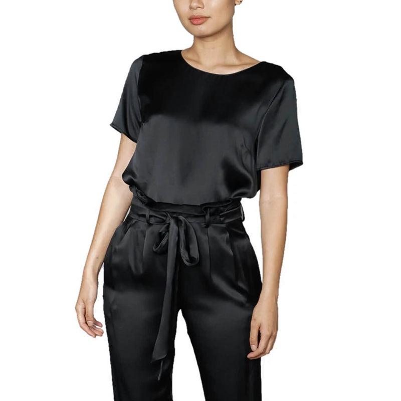 Amanda Uprichard Black Silk Montgomery Top Size Medium Muse Boutique Outlet | Shop Designer Short Sleeve Tops on Sale | Up to 90% Off Designer Fashion
