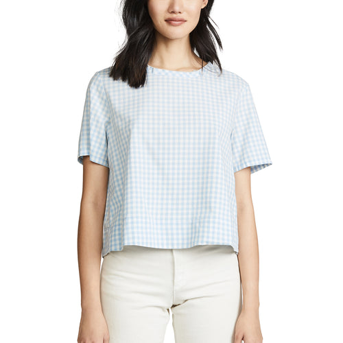4a9b78f78a2166 AMO Sienna Crop Tee Small Baby Blue Gingham Muse Boutique Outlet
