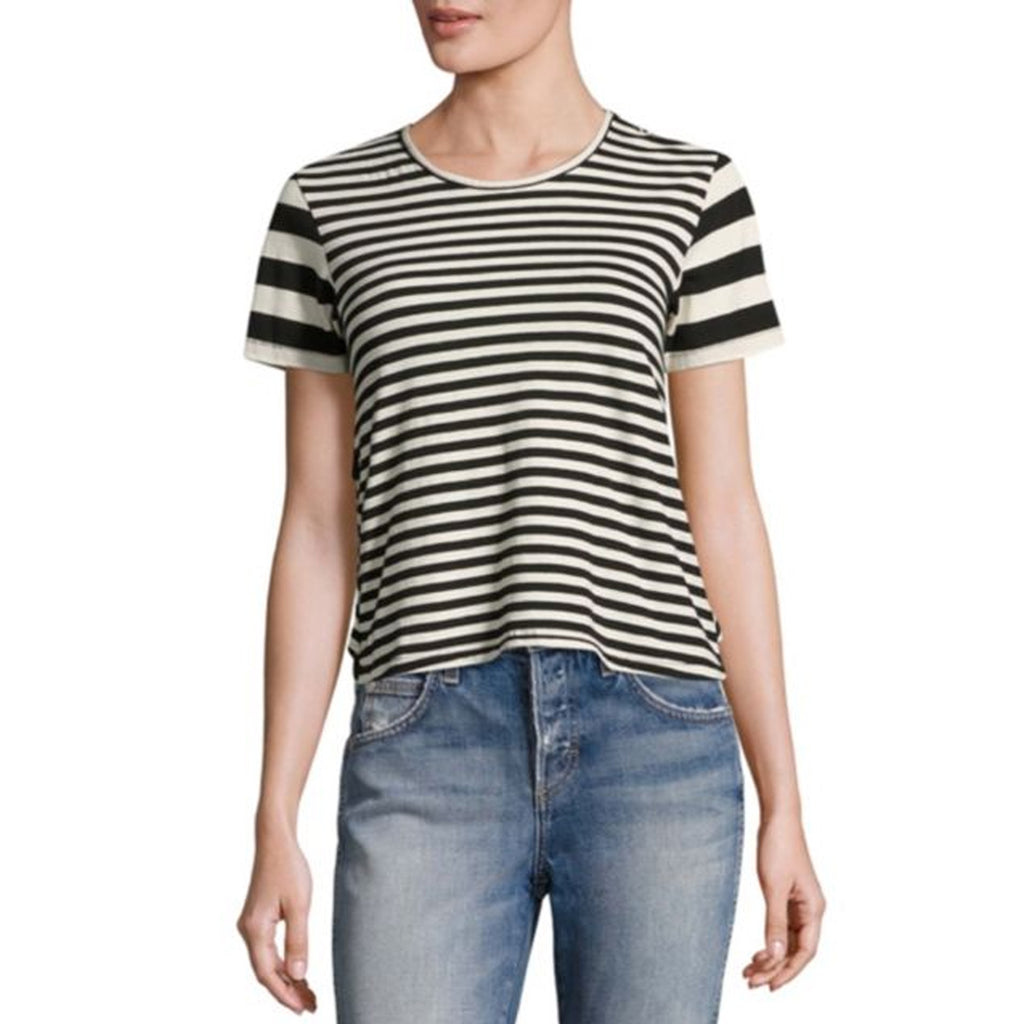 AMO Stripe Remix Striped Ruffle Tee Size Large Muse Boutique Outlet | Shop Designer Short Sleeve Tops on Sale | Up to 90% Off Designer Fashion