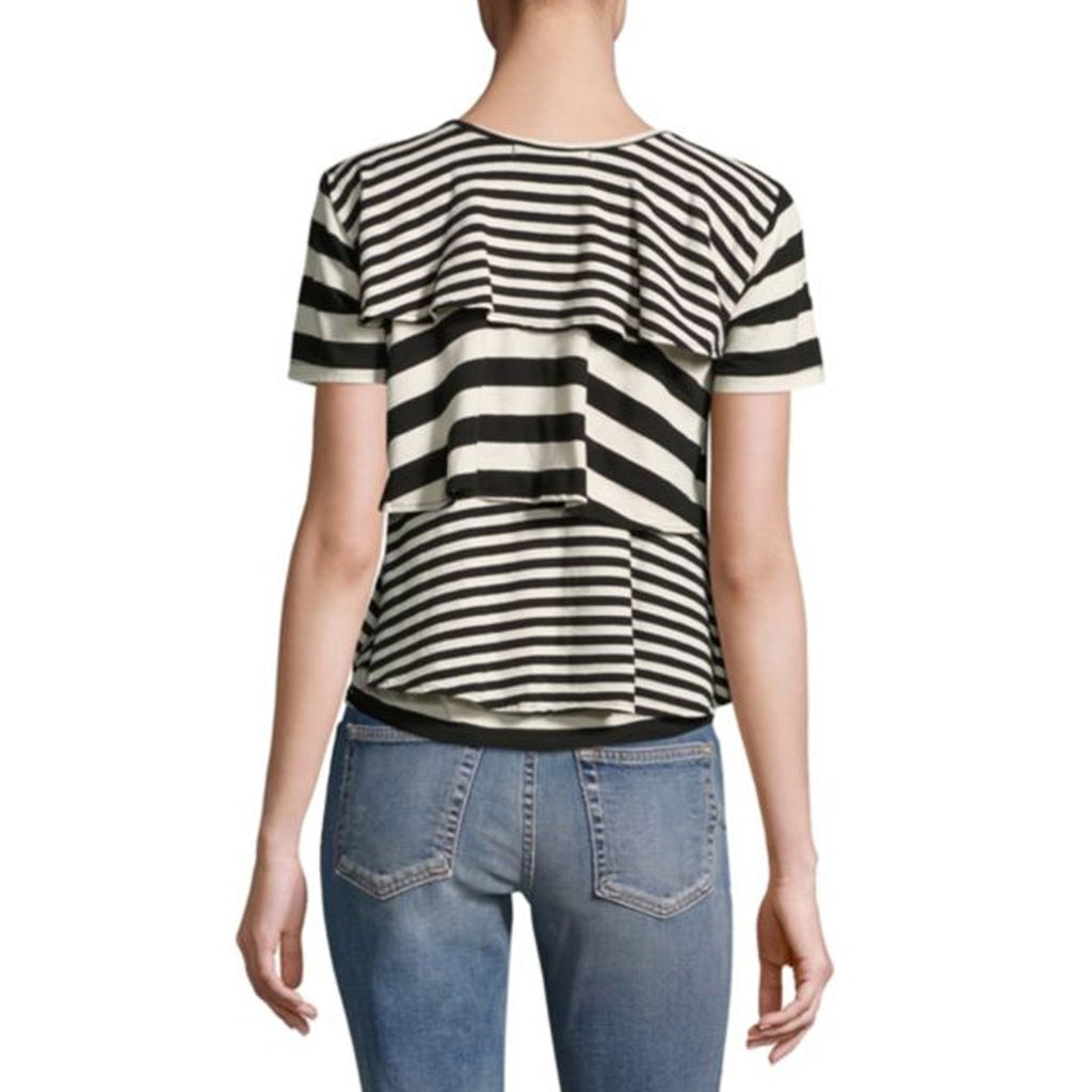 AMO  Striped Ruffle Tee Size  Muse Boutique Outlet | Shop Designer Short Sleeve Tops on Sale | Up to 90% Off Designer Fashion