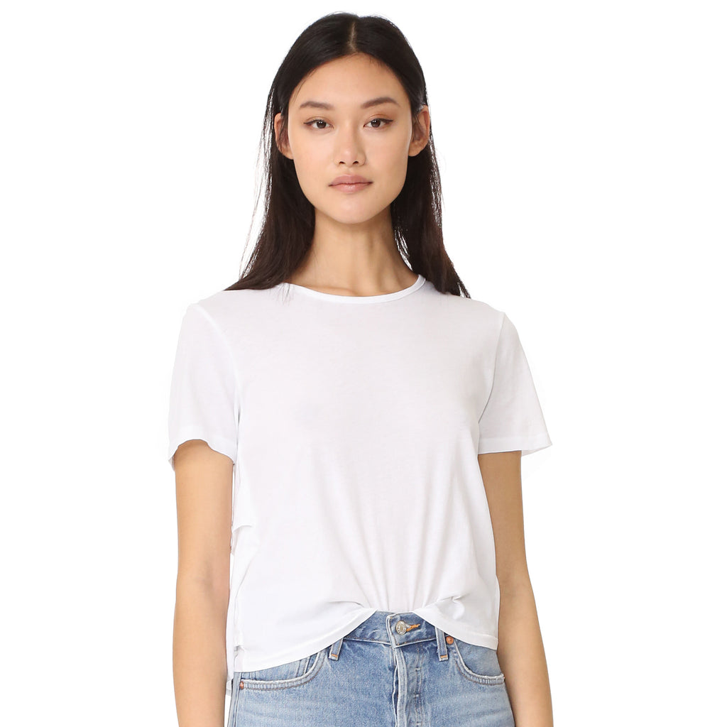 AMO White Ruffle Tee Size Large Muse Boutique Outlet | Shop Designer Short Sleeve Tops on Sale | Up to 90% Off Designer Fashion