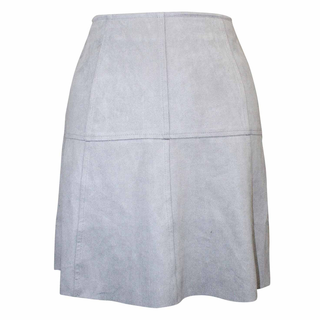 AMT Powder Blue Faux Suede A Line Mini Skirt Size Small Muse Boutique Outlet | Shop Designer Clearance Skirts on Sale | Up to 90% Off Designer Fashion