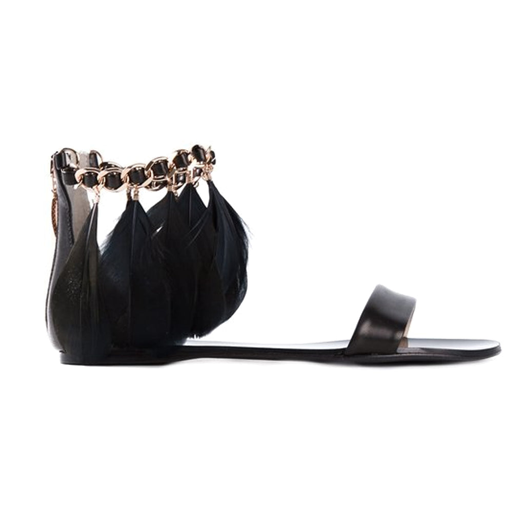 Anna Baiguera Black Feather Sandal Size 41 Muse Boutique Outlet | Shop Designer Flats on Sale | Up to 90% Off Designer Fashion
