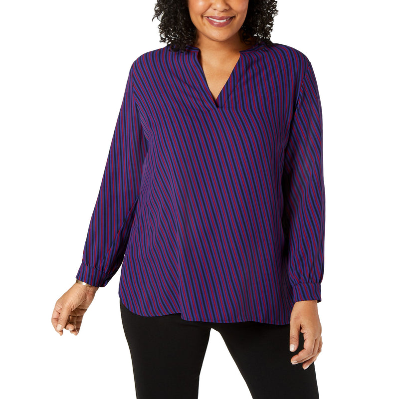 Anne Klein Blue Split Neck Striped Top Size 0X Muse Boutique Outlet | Shop Designer Clearance Tops on Sale | Up to 90% Off Designer Fashion