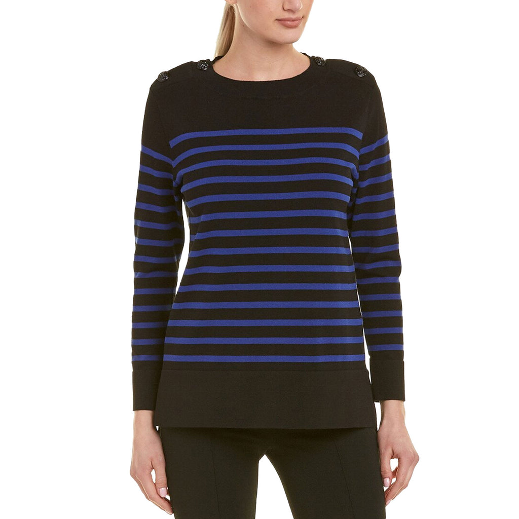 Anne Klein Black Striped High Low Sweater Size Small Muse Boutique Outlet | Shop Designer Clearance Sweaters on Sale | Up to 90% Off Designer Fashion