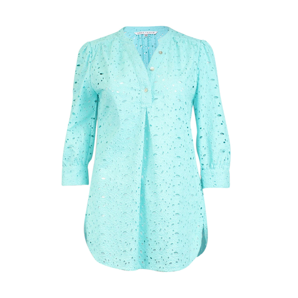 Annie Griffin Turquoise Bonnie Tunic Size Extra Small Muse Boutique Outlet | Shop Designer Clearance Tops on Sale | Up to 90% Off Designer Fashion