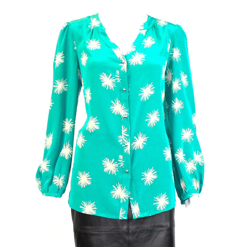 Annie Griffin Turquoise Printed Silk Blouse Size 8 Muse Boutique Outlet | Shop Designer Clearance Tops on Sale | Up to 90% Off Designer Fashion