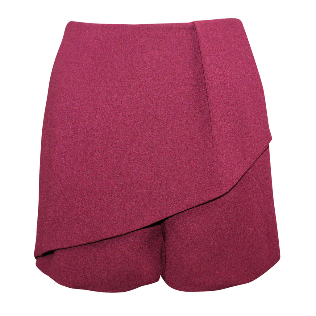 Askari Burgundy Asymmetrical Skort Size Extra Small Muse Boutique Outlet | Shop Designer Shorts on Sale | Up to 90% Off Designer Fashion