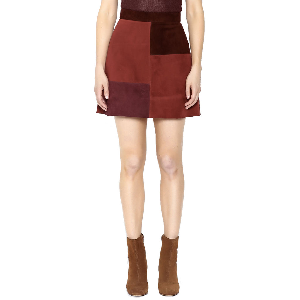 Ayni Vino Suede Colorblock Mini Skirt Size Extra Small Muse Boutique Outlet | Shop Designer Skirts on Sale | Up to 90% Off Designer Fashion