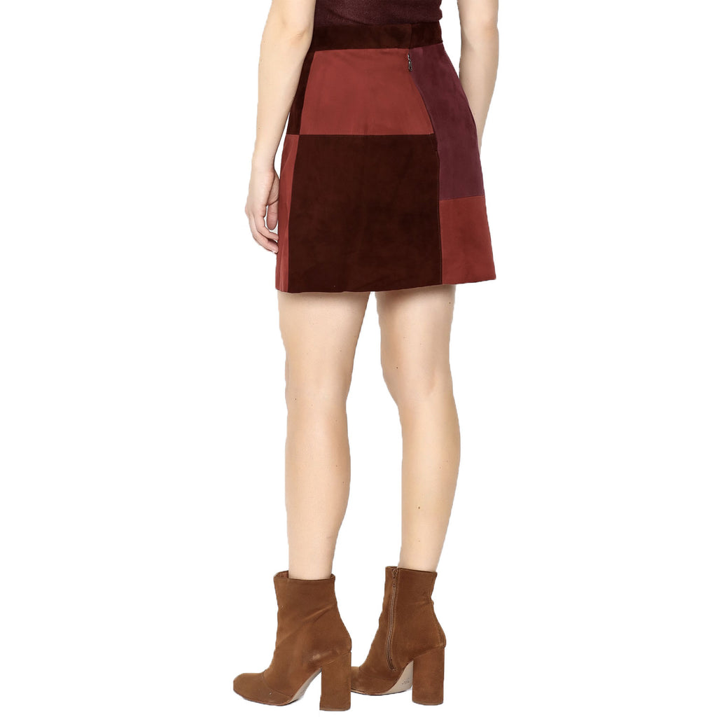 Suede Colorblock Mini Skirt