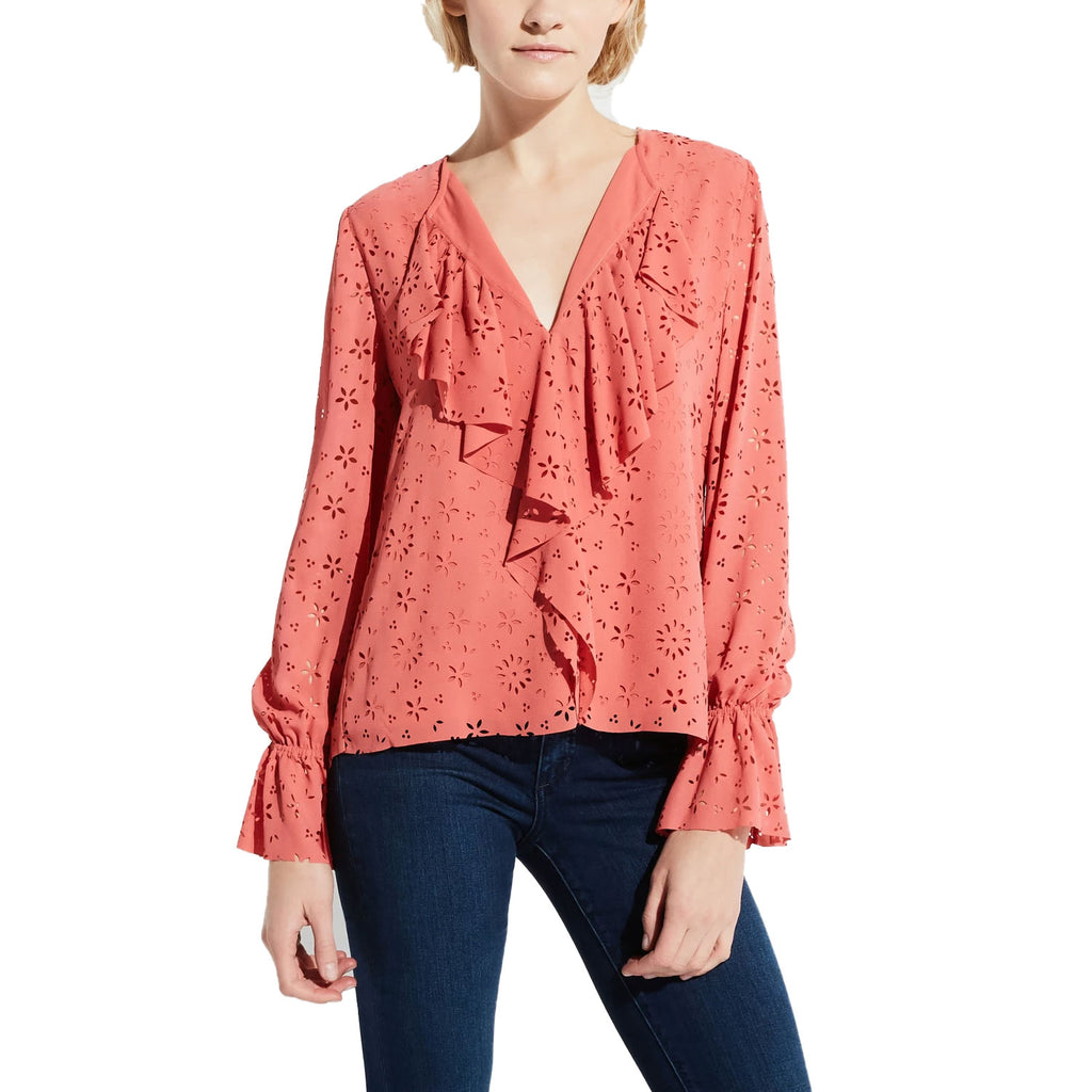 Bailey 44 Starfish Miranda Eyelet Ruffle Top Size Extra Small Muse Boutique Outlet | Shop Designer Long Sleeve Tops on Sale | Up to 90% Off Designer Fashion