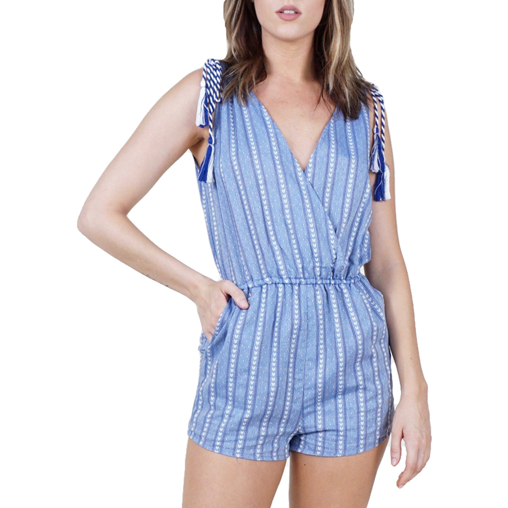 BB Dakota Medium Blue Striped Romper Size Extra Small Muse Boutique Outlet | Shop Designer Clearance Bottoms on Sale | Up to 90% Off Designer Fashion