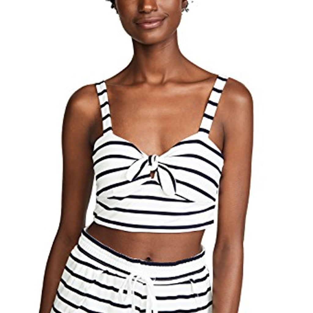 BB Dakota Optic White Striped Tie Knot Front Crop Top Size Extra Small Muse Boutique Outlet | Shop Designer Sleeveless Tops on Sale | Up to 90% Off Designer Fashion