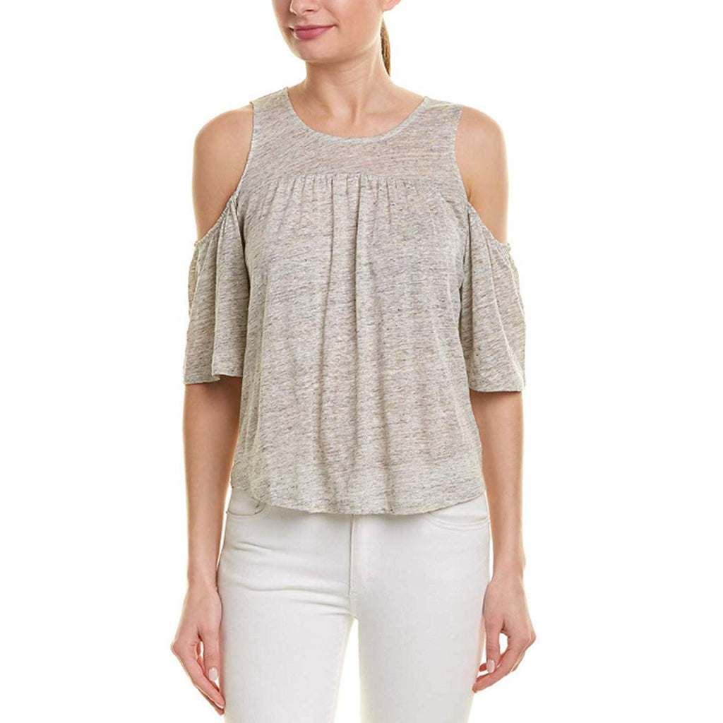 BB Dakota Heather Grey Cold Shoulder Lace Up Back Knit Top Size Small Muse Boutique Outlet | Shop Designer Short Sleeve Tops on Sale | Up to 90% Off Designer Fashion