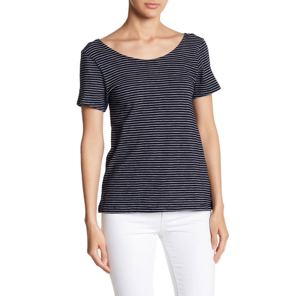 BB Dakota Navy Kaiya Striped Short Sleeve Tee Size Extra Small Muse Boutique Outlet | Shop Designer Short Sleeve Tops on Sale | Up to 90% Off Designer Fashion