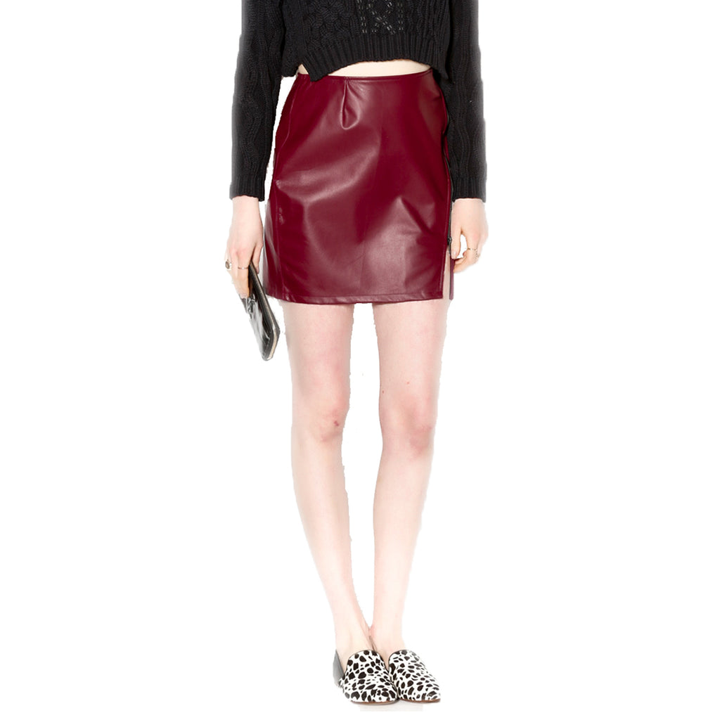 Benjamin Jay Oxblood Leather Mini Skirt Size Large Muse Boutique Outlet | Shop Designer Clearance Skirts on Sale | Up to 90% Off Designer Fashion