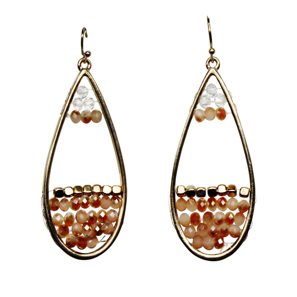 Private Label Peach Beaded Drop Earrings Size OSFA Muse Boutique Outlet | Shop Designer Clearance Jewelry on Sale | Up to 90% Off Designer Fashion