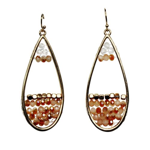 Private Label Beaded Drop Earrings OSFA Peach Muse Boutique Outlet