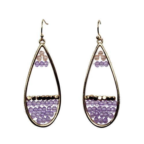 Private Label Beaded Drop Earrings OSFA Lavender Muse Boutique Outlet