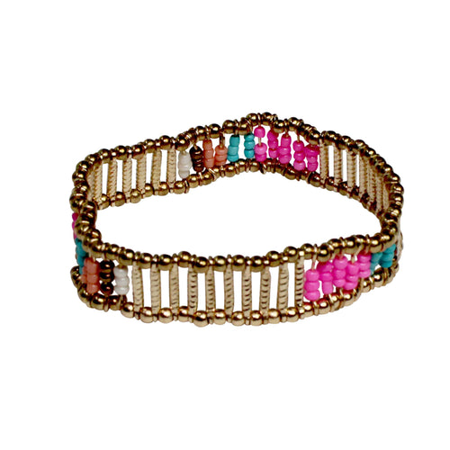 Private Label Beaded Stretch Bracelet OSFA Pink Muse Boutique Outlet
