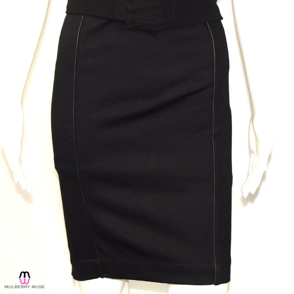 Bella Luxx Black Leather Piped Twill Pencil Skirt Size Small Muse Boutique Outlet | Shop Designer Clearance Skirts on Sale | Up to 90% Off Designer Fashion