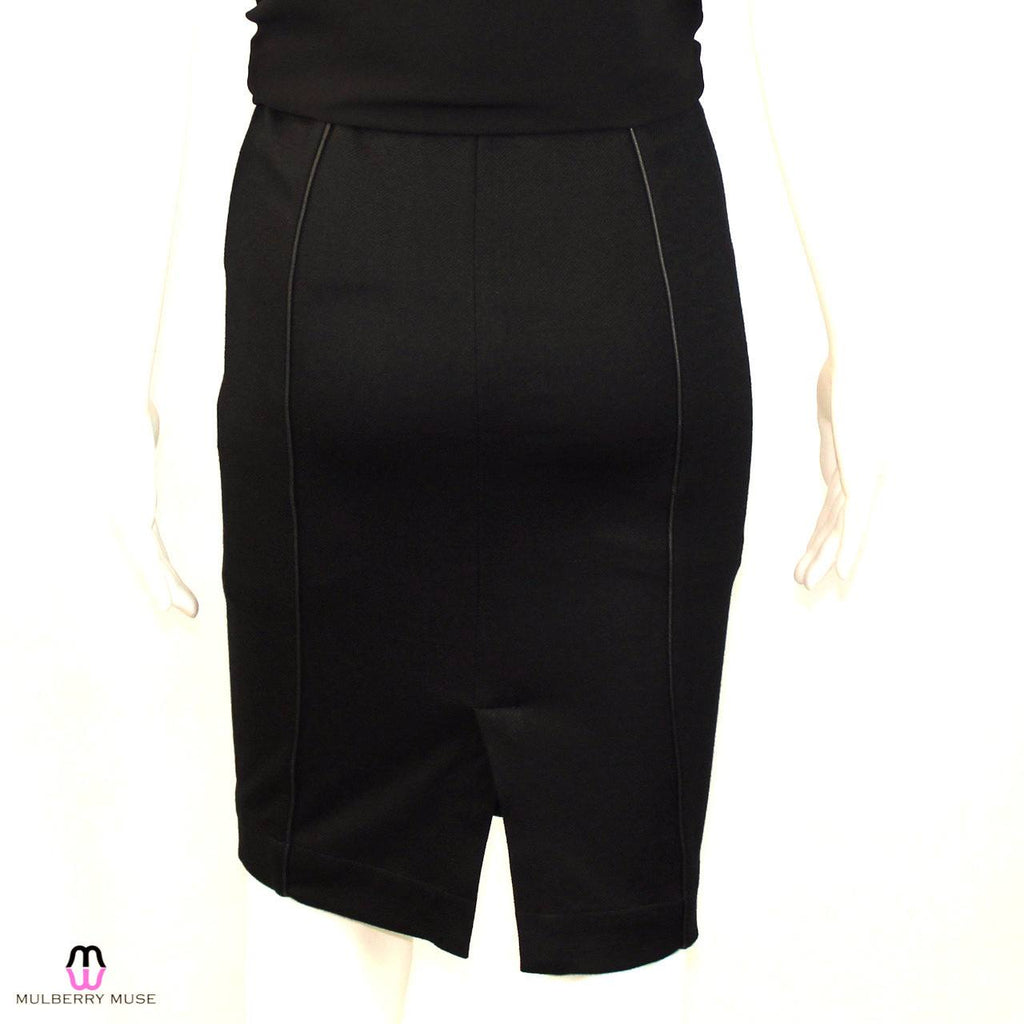 Bella Luxx  Leather Piped Twill Pencil Skirt Size  Muse Boutique Outlet | Shop Designer Clearance Skirts on Sale | Up to 90% Off Designer Fashion