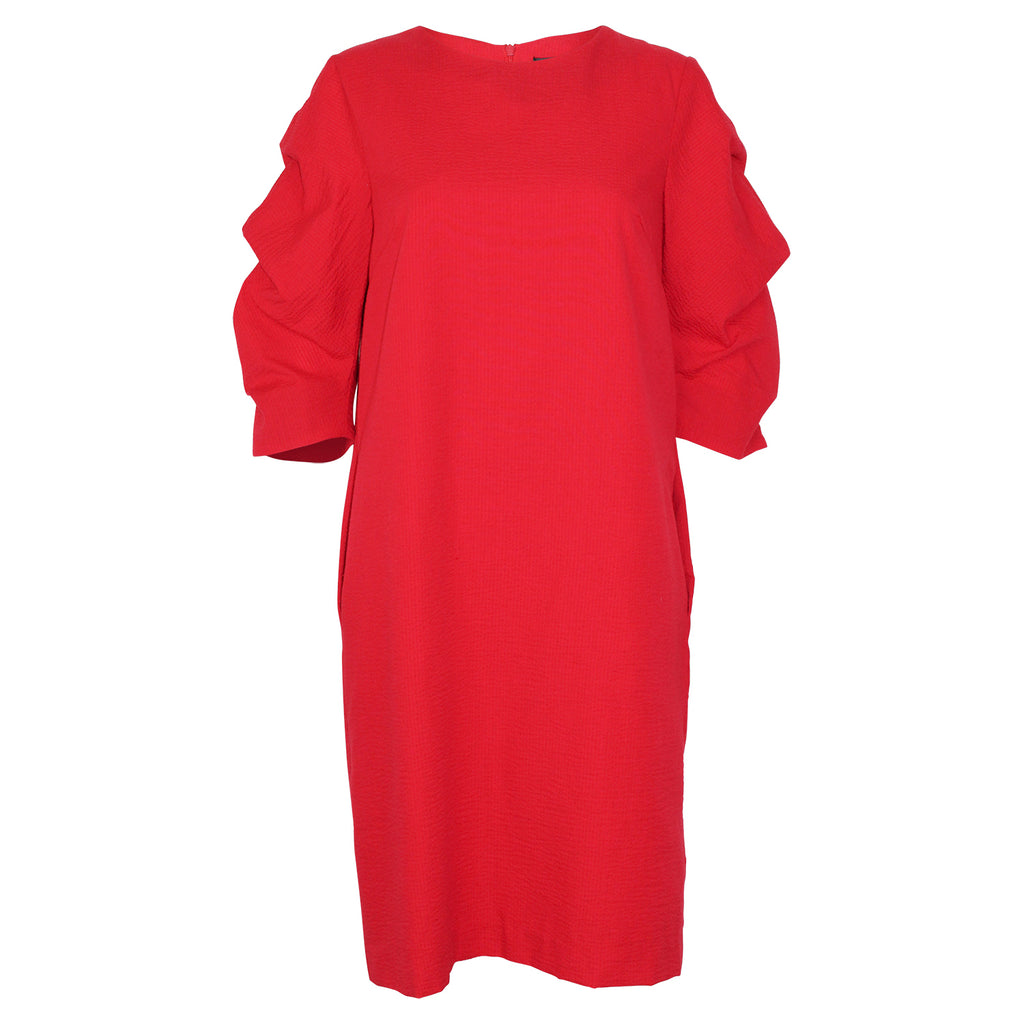 Bigio Collection Red Gathered Sleeve Dress Size 6 Muse Boutique Outlet | Shop Designer Dresses on Sale | Up to 90% Off Designer Fashion