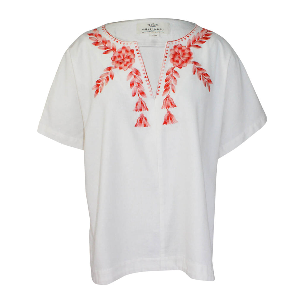 Birds of Paradis by Trovata Ivory Embroidered Boxy Blouse Size Large Muse Boutique Outlet | Shop Designer Blouses on Sale | Up to 90% Off Designer Fashion