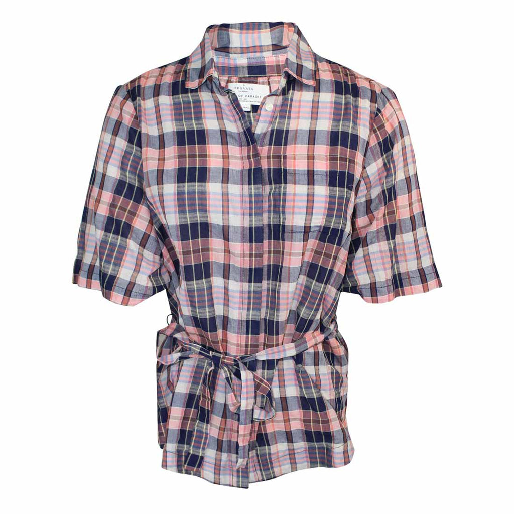 Birds of Paradis by Trovata Pink Multi Plaid Tie Waist Blouse Size Extra Small Muse Boutique Outlet | Shop Designer Short Sleeve Tops on Sale | Up to 90% Off Designer Fashion
