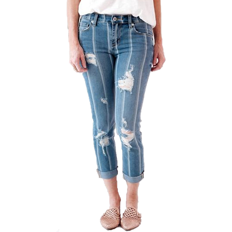 Billy T Blue/White Stripe Striped Jeans Size 6 Muse Boutique Outlet | Shop Designer Denim Pants on Sale | Up to 90% Off Designer Fashion