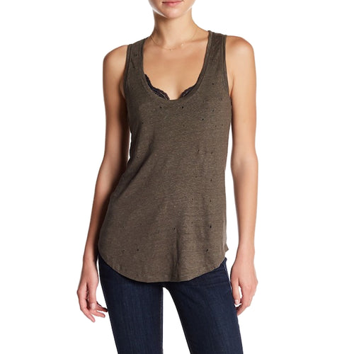 Black Orchid Distressed Linen Tank Small Olive Muse Boutique Outlet