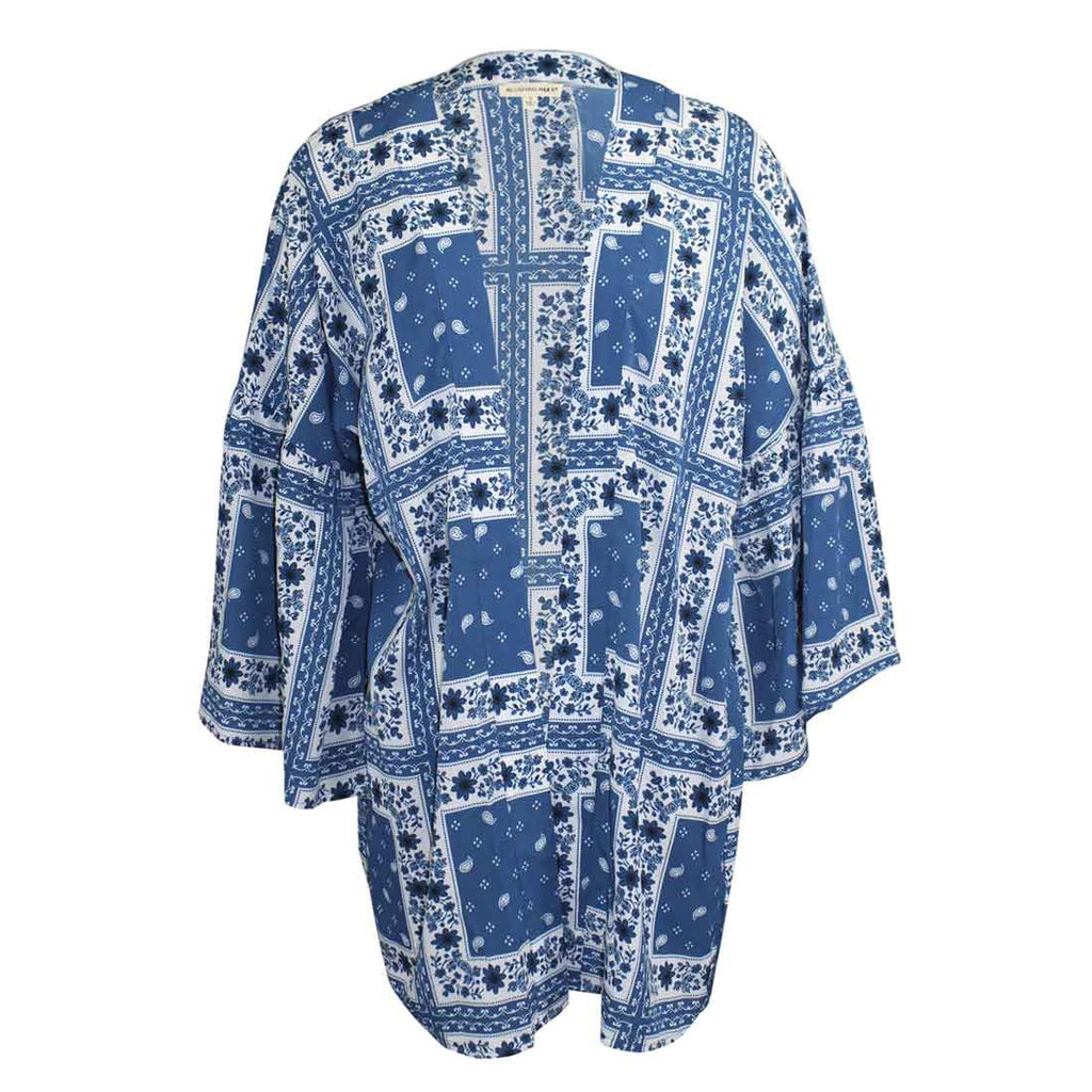 Blushing Heart Blue Printed Open Cardigan Size Small Muse Boutique Outlet | Shop Designer Clearance Sweaters on Sale | Up to 90% Off Designer Fashion