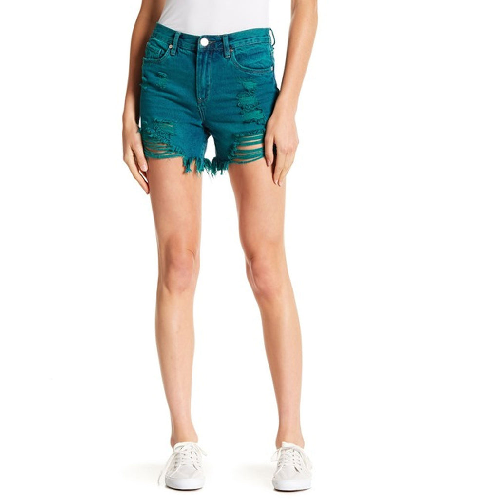 Blanc Nyc Turquoise High Rise Destructed Denim Shorts Size 25 Muse Boutique Outlet | Shop Designer Shorts on Sale | Up to 90% Off Designer Fashion