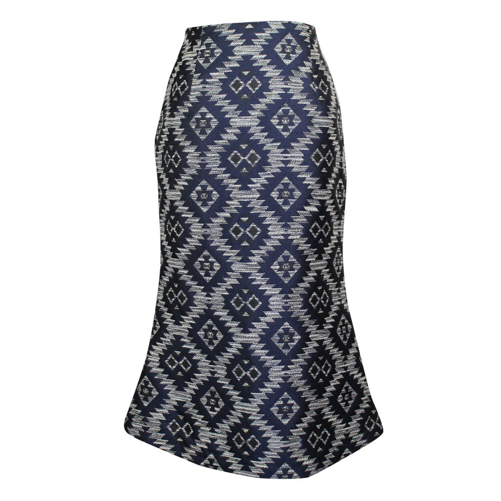 Blaque Label Navy Mosaic Jacquard Cascade Skirt Size Small Muse Boutique Outlet | Shop Designer Skirts on Sale | Up to 90% Off Designer Fashion