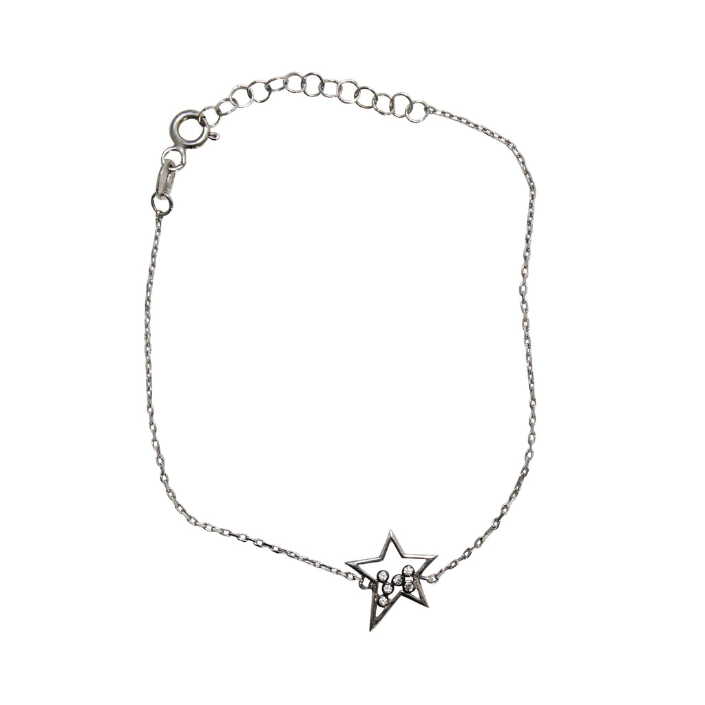 Blee Inara Silver Star Bracelet Size OSFA Muse Boutique Outlet | Shop Designer Clearance Jewelry on Sale | Up to 90% Off Designer Fashion