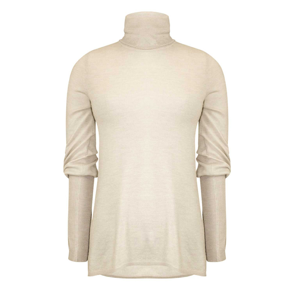 Brown Allan Beige Merino Wool Turtleneck Size Extra Small Muse Boutique Outlet | Shop Designer Long Sleeve Tops on Sale | Up to 90% Off Designer Fashion