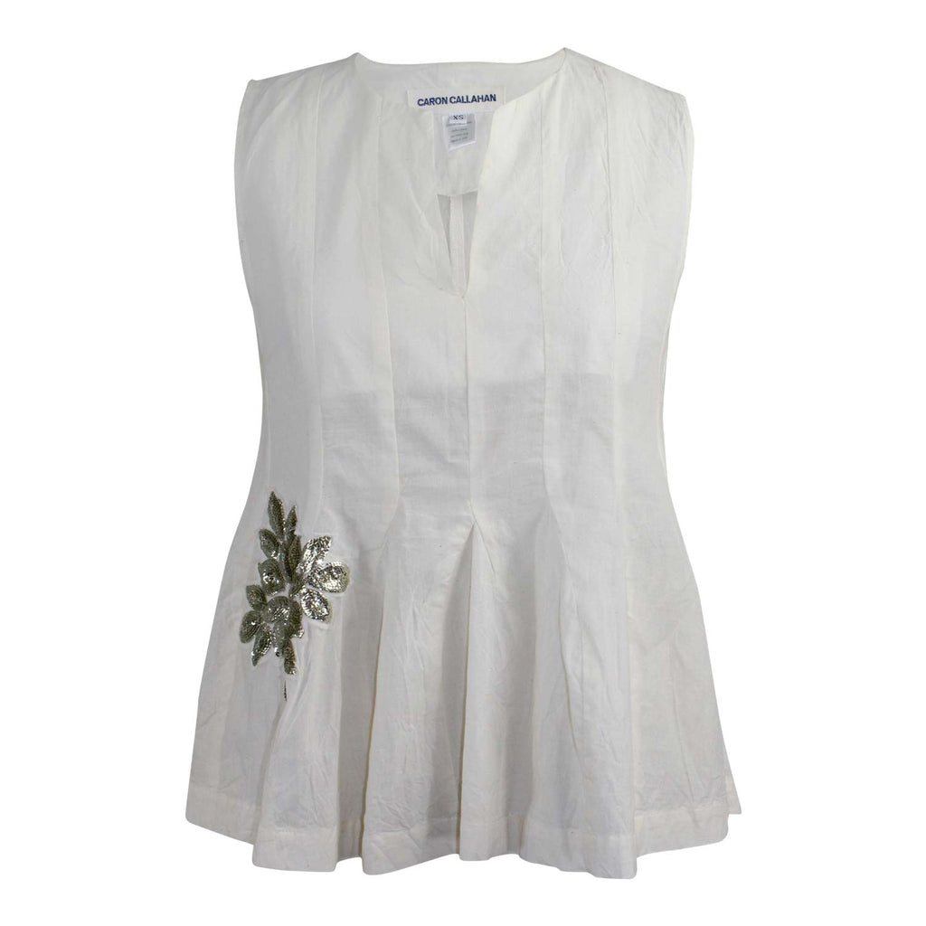 Caron Callahan Ivory Ares Top Size Extra Small Muse Boutique Outlet | Shop Designer Sleeveless Tops on Sale | Up to 90% Off Designer Fashion