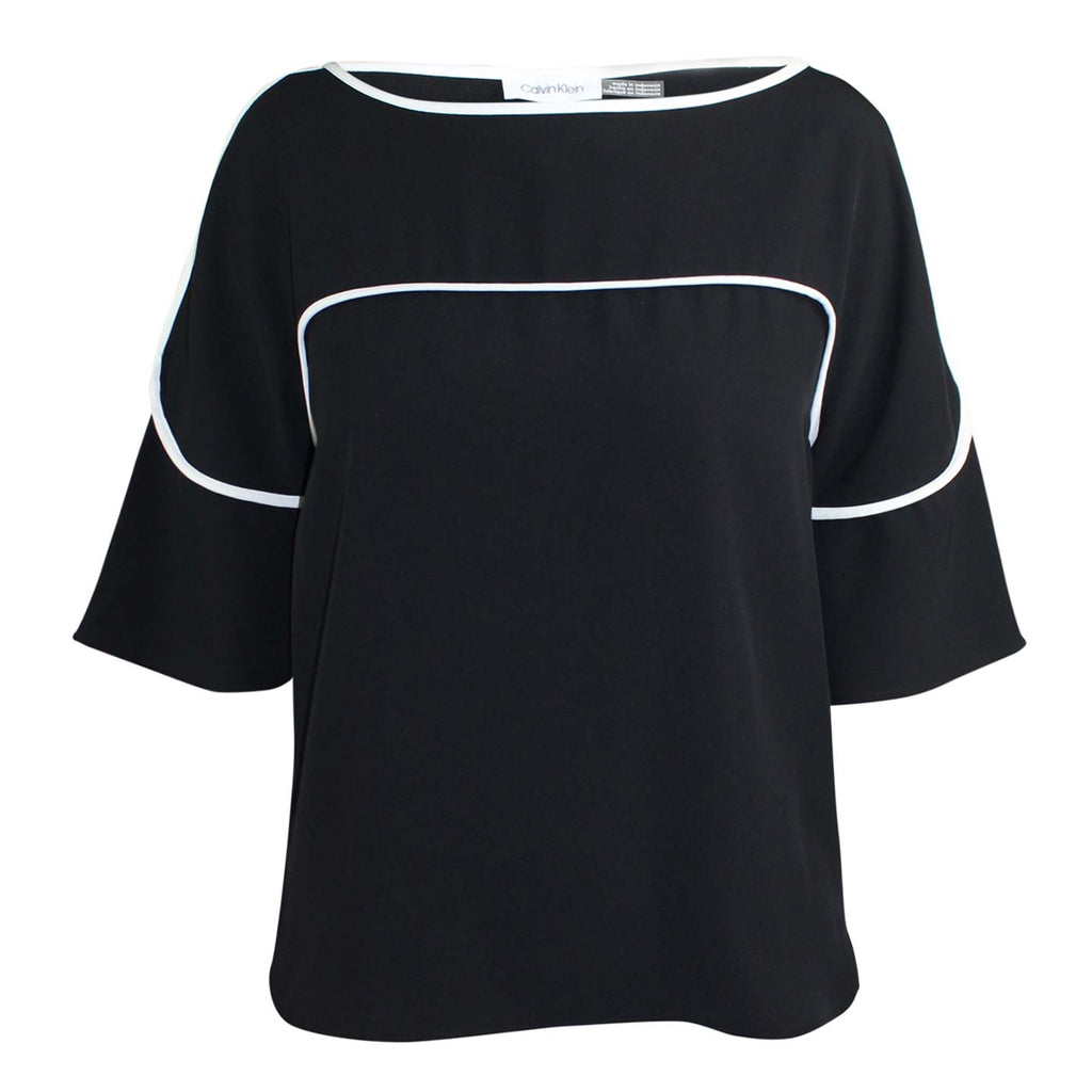 Calvin Klein Black Pipe Trim Blouse Size Small Muse Boutique Outlet | Shop Designer Clearance Tops on Sale | Up to 90% Off Designer Fashion