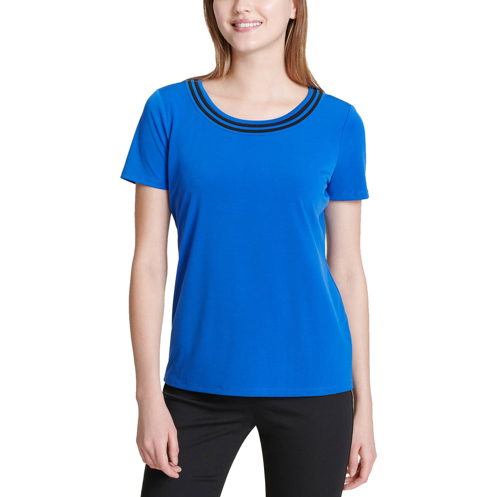 Calvin Klein Blue Striped Scoop-Neck Top Size Medium Muse Boutique Outlet | Shop Designer Clearance Tops on Sale | Up to 90% Off Designer Fashion