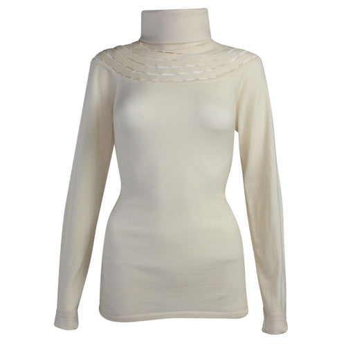 Catherine Malandrino Armelle Wool Turtleneck Large Ivory Muse Boutique Outlet