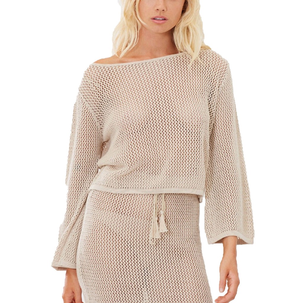 Charlie Holiday Carmel Crochet Knit Top Size Extra Small Muse Boutique Outlet | Shop Designer Long Sleeve Tops on Sale | Up to 90% Off Designer Fashion