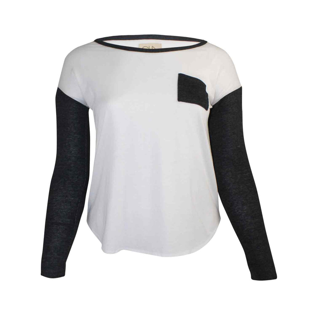 Chaser Black, White Blocked Jersey Shirttail Tee Size Large Muse Boutique Outlet | Shop Designer Clearance Tops on Sale | Up to 90% Off Designer Fashion