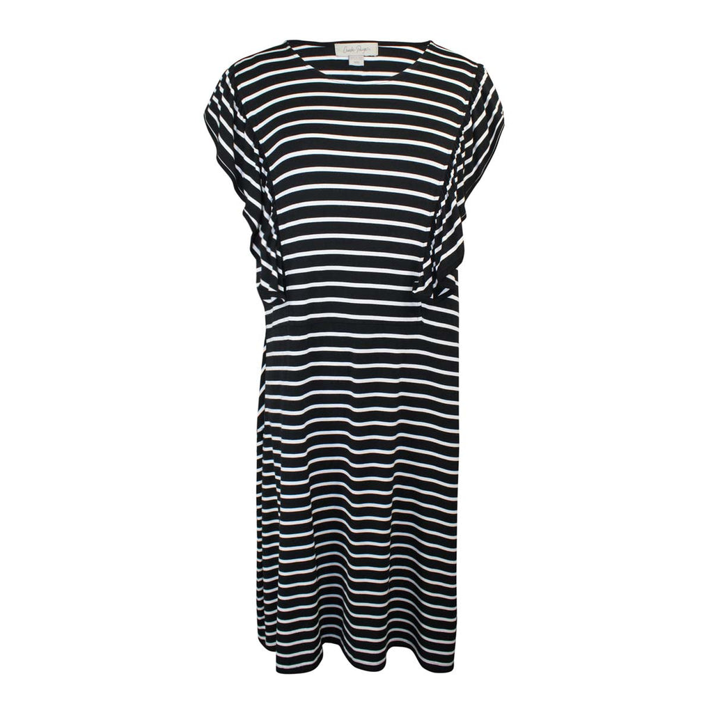 Charlie Paige Black/White Knit Ruffle Detail Dress Size Medium Muse Boutique Outlet | Shop Designer Clearance Dresses on Sale | Up to 90% Off Designer Fashion