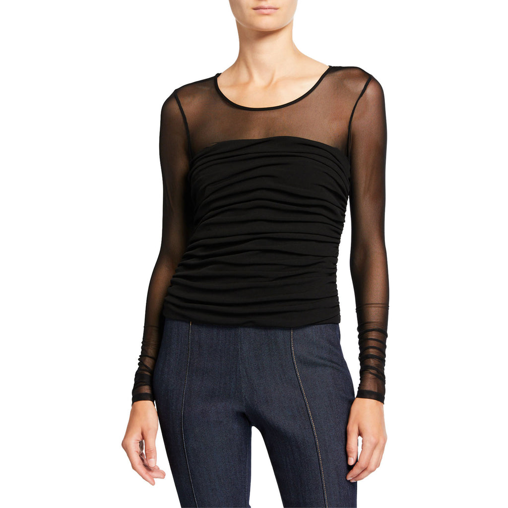 Cinq A Sept Black Zephyr Mesh Top Size Small Muse Boutique Outlet | Shop Designer Long Sleeve Tops on Sale | Up to 90% Off Designer Fashion
