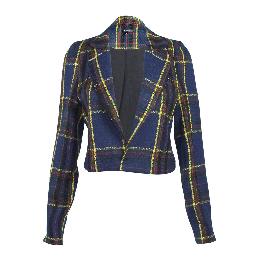 Naven Navy Plaid Cropped Plaid Jacket Size 0 Muse Boutique Outlet | Shop Designer Clearance Outerwear on Sale | Up to 90% Off Designer Fashion
