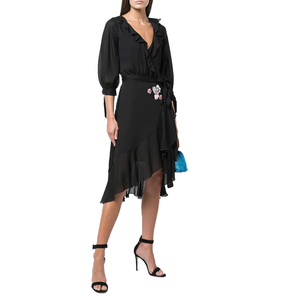 Cynthia Rowley Black Silk Chiffon Ruffle Wrap Dress Size 0 Muse Boutique Outlet | Shop Designer Dresses on Sale | Up to 90% Off Designer Fashion