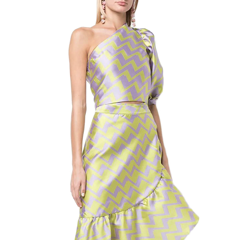 Cynthia Rowley Lime/Lavender Jacquard Puff Sleeve One Shoulder Top Size Extra Small Muse Boutique Outlet | Shop Designer Short Sleeve Tops on Sale | Up to 90% Off Designer Fashion